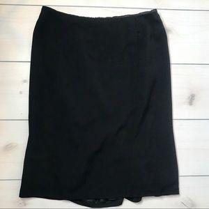 Ralph Lauren Black Wool Fan Back Straight Skirt